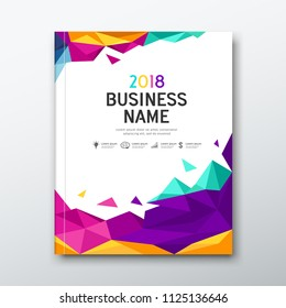 Cover Book Business name geometric abstract colorful on white background design, vector illustration