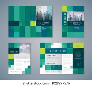 Cover Book Design Set, Abstract Green Pixel Background vector Template Brochures, flyer, presentations, leaflet, magazine, invitation card, annual report, Advertising