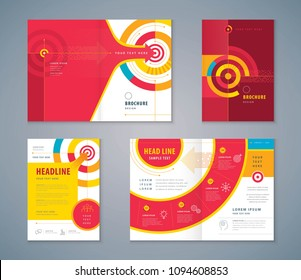 Cover Book Design Set, Abstract Colorful Arrow and Target vector, Template Brochures, flyer, presentations, leaflet, annual report, Path to the goal, Concept growth to success, Reach the target
