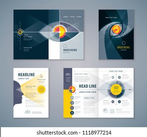 Cover Book Design Set, Abstract Eye Target icon vector Template Brochures, flyer, leaflet, annual report, Path to the goal, Business Vision concept growth to success, Start up, Reach the target,