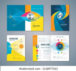 Cover Book Design Set, Abstract Colorful Eye Target icon vector Template Brochure, flyer,leaflet, annual report, Path to the goal, Business Vision concept growth to success, Start up, Reach the target