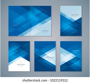 Cover Book Design Set, Blue Triangle Background vector Template Brochures, flyer, presentations, leaflet, magazine, invitation card, annual report
