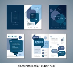 Cover Book Design Set, Blue Speech Bubbles Background vector Template Brochures, flyer, presentations, leaflet, magazine, annual report, Questions and Answers, social networks, talk bubbles