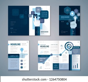 Cover Book Design Set, Blue Business Hands Pointing Icon vector Template Brochures, flyer, presentations, leaflet, Hand pushing Start button, Profit concept, growing to Target, progress or success.