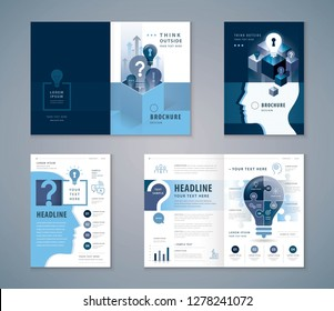 Cover Book Design Set, Blue Human head with Light Bulb and Question Mark vector Template Brochures, Think outside the box Concept, Business ideas, flyer, presentations, leaflet, annual report