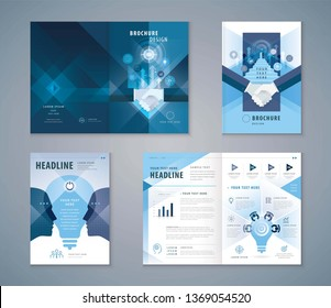 Cover Book Design Set, Blue Handshake and Stairs up to open door,growing to Target,human head with Light bulb, progress to success, brainstorm,Teamwork,Template Brochures,flyer,presentation