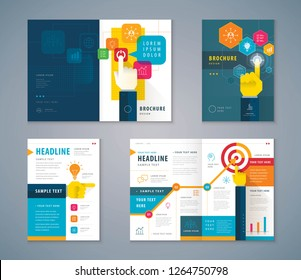 Cover Book Design Set, Business Hands Pointing Icon vector Template Brochures, flyer, presentations, leaflet, Hand pushing Start button, Profit concept, growing to Target, progress or success.
