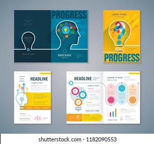 Cover Book Design Set, Color Human head with Light Bulb Background vector Template Brochures, Cogwheel Gears in progress, flyer, presentations,Question mark,leaflet,profile,Thinking for development