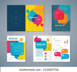 Cover Book Design Set, Colorful Speech Bubbles Background vector Template Brochures, flyer, presentations, leaflet, magazine, annual report,Questions and Answers,Social networks,talk bubbles, Messages