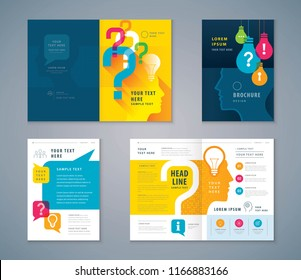 Cover Book Design Set, Colorful Human head with Light Bulb and Question Mark Background vector Template Brochures, flyer,leaflet,annual report, problem,trouble,Questions and Answers, information,fact