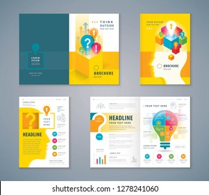 Cover Book Design Set, Colorful Human head with Light Bulb and Question Mark vector Template Brochures, Think outside the box Concept, Business ideas, flyer, presentations, leaflet, annual report