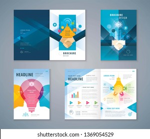 Cover Book Design Set, Colorful Handshake and Stairs up to open door,growing to Target,human head with Light bulb, progress to success, brainstorm,Teamwork,Template Brochures,flyer,presentation