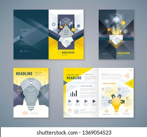 Cover Book Design Set, Handshake and Stairs up to open door,growing to Target,human head with Light bulb, progress to success, brainstorm,Teamwork,Template Brochures,flyer,presentation