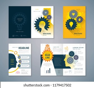 Cover Book Design Set, Human head with Light Bulb Background vector Template Brochures, Cogwheel Gears in progress, flyer, presentations,annual report,leaflet, hand,heart,Thinking for development