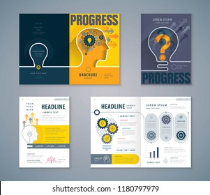 Cover Book Design Set, Human head with Light Bulb Background vector Template Brochures, Cogwheel Gears in progress, flyer, presentations,annual report,leaflet,profile,Question,Answers, development
