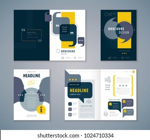 Cover Book Design Set, Speech Bubbles Background vector Template Brochures, flyer, presentations, leaflet, magazine, invitation card, annual report, Questions and Answers, social networks, talk bubble