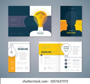 Cover Book Design Set, Yellow Human head with Light Bulb Background vector Template Brochures, flyer, leaflet, magazine, invitation card, annual report, Work Together, Teamwork, Brainstrom, combine