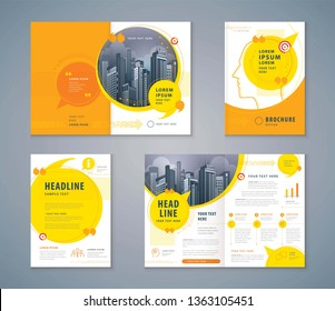 Cover Book Design Set, Yellow Speech Bubbles Background vector Template Brochures, flyer, presentations, leaflet, magazine, invitation card, annual report, social networks, talk bubbles