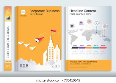 Cover book design template with presentation infographics elements, Use for annual report, proposal, portfolio, brochure, flyer, leaflet, catalog, magazine, booklet, Vector template in A4 layout.