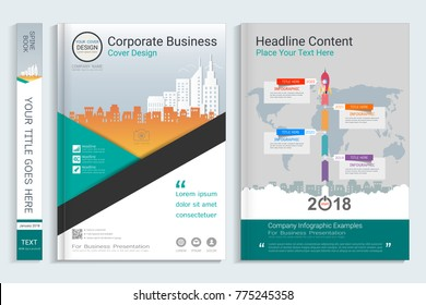 cover book design template presentation infographics stock vector