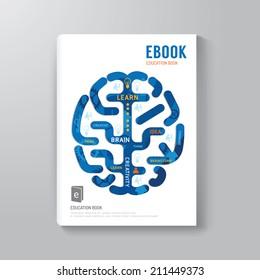 Cover Book Digital Design Brain Concept Template / can be used for E-Book Cover/ E-Magazine Cover/ vector illustration