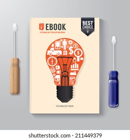 Cover Book Digital Design Template Technology Concept/ can be used for E-Book Cover/ E-Magazine Cover/ vector illustration