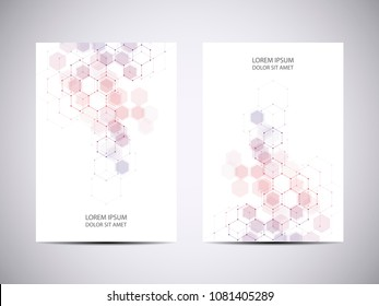 Cover or brochure design with medical background. Molecular structure and hexagons