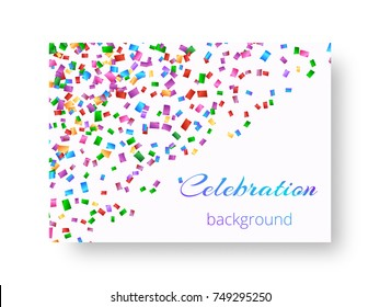 Cover brochure with falling overflowing little confetti for festive decor