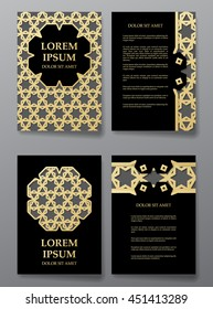Cover brochure gold design. Arabic traditional decorative patterns. Vector illustration