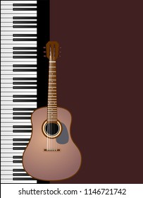 Cover for brochure with Piano with guitar vector eps 10
