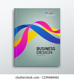 Cover Business book annual report colorful ribbon design background, vector illustration