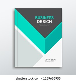 Cover Business book annual report green and gray triangle design background, vector illustration