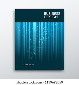 Cover Business book annual report abstract blue lines and dots background, vector illustration