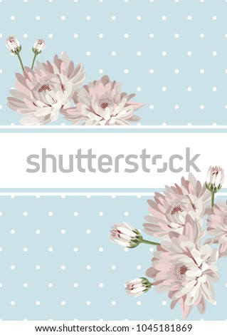 Cover Or Card Template Shabby Chic Flowers On Blue Polka Dot Background Also