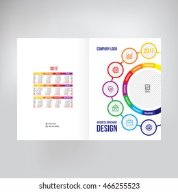 Cover for catalogue, brochure, booklet, leaflet. Graphic template for posting photos and text, cover design of annual report. Template for business presentation, cover folder vector background