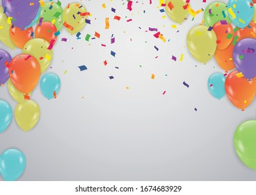 Cover with colored balloons, garlands and confetti on the white. Eps 10