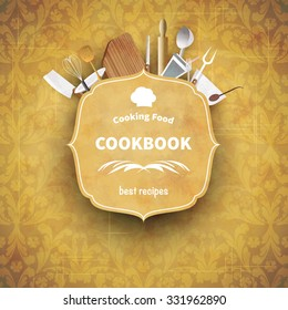 Cover cookbook vintage design with cutlery