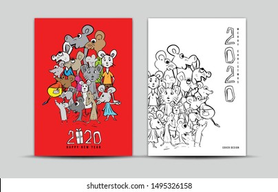 Cover design 2020 text design with mouse cartoon character vector illustration, Calendar cover template, poster, flyer, Rat 2020 Chinese zodiac sign