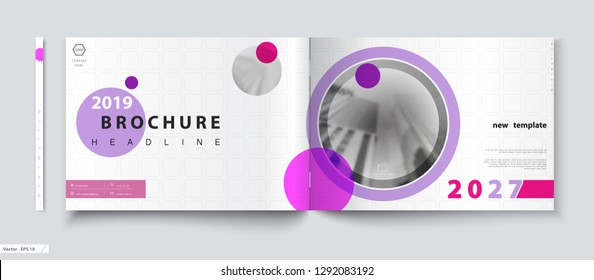 Cover design A4 brochure. Multicolored circles, photo. Annual business report, catalog, magazine layout, modern printed product, book, booklet, album, informational poster. Text, font of advertising