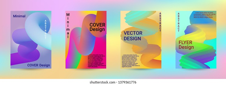 Cover design. Abstract 3d Gradient Background with Colorful Liquid. Modern Wave Flow Shape. Modern Vector Illustration.