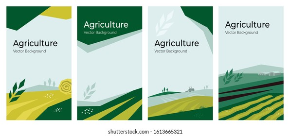 Cover design with agriculture or farming concept. Vector illustrations with farm land, field, spike of wheat. Set of banner backgrounds. Templates with tractor, harvest, hayfield for flyer, poster, ad
