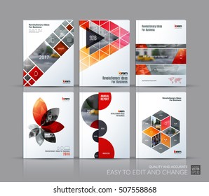 Cover design annual report, brochure template layout, magazine, flyer in A4 with red triangles, rectangular elements, squares, circles, flowers for business, finance.  Abstract vector design set.