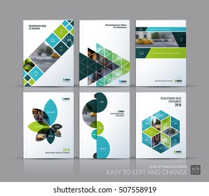 Cover design annual report, brochure template layout, magazine, flyer in A4 with green triangles, rectangular elements, squares, circles, flowers for business, finance.  Abstract vector design set.