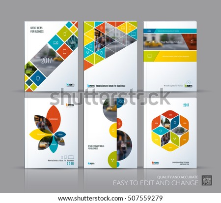 Cover design annual report, brochure template layout, magazine, flyer in A4 with colourful triangles, rectangular elements, circles, flowers for business, finance.  Abstract vector design set.