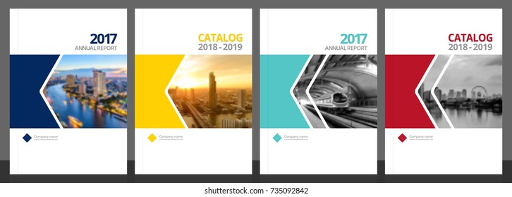 Cover design for annual report and business catalog, magazine, flyer or booklet blue, yellow, red, and green colors. Brochure template layout. A4 cover vector EPS-10 sample image with Gradient Mesh.
