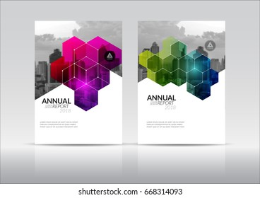 Cover Design, annual report, flyer, presentation, brochure. Front page design layout template in A4 size. Geometry magenta lime green color with building background templates.