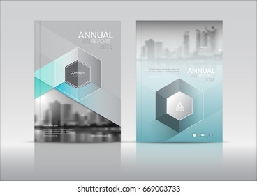 Cover Design, annual report cover, flyer, presentation, brochure. Front page design layout template in A4 size. Hexagon Shapes. Aqua green color with building background templates.