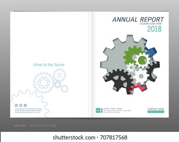 Cover design annual report, Industrial and engineering concept, Can be adapt to business presentation, brochure, flyer, leaflet, fact sheet, sale kit, catalog, magazine, booklet, portfolio, and poster