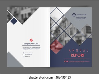 Cover Design Annual Report, Vector Template Brochures, Flyers, Presentations, Leaflet, Magazine A4 Size. Dark Blue, Grey  and Red  Polygons on a White Background