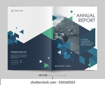 Cover design annual report,vector template brochures, flyers, presentations, leaflet, magazine a4 size. Dark blue, blue and green polygons on a white background